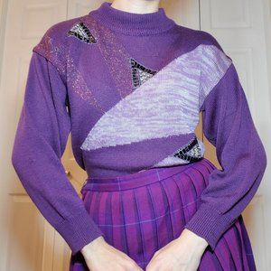Vintage 1980's funky purple boxy cinched sweater